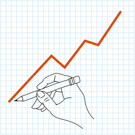hand drawing profit chart on graph paper illustrator background eps10