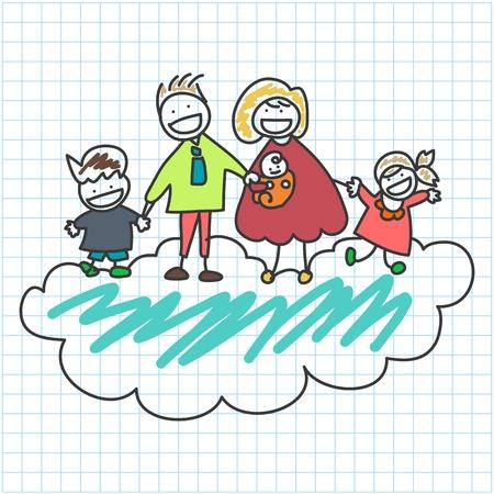 hoja cuadriculada: mano dibujo de la historieta de la familia feliz de caracteres en el papel cuadriculado