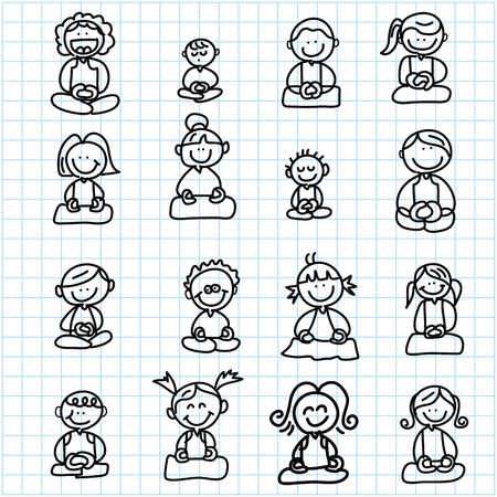 hand drawing cartoon happy people meditation on graph paper illustration Stock Vector - 19084970