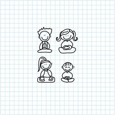 sleepy woman: hand drawing cartoon happy people meditation on graph paper illustration Illustration