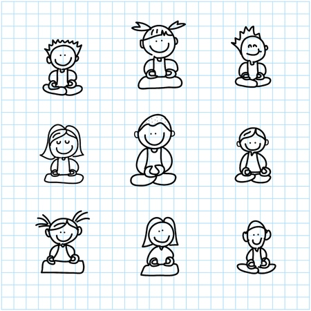 hand drawing cartoon happy people meditation on graph paper illustration Vector