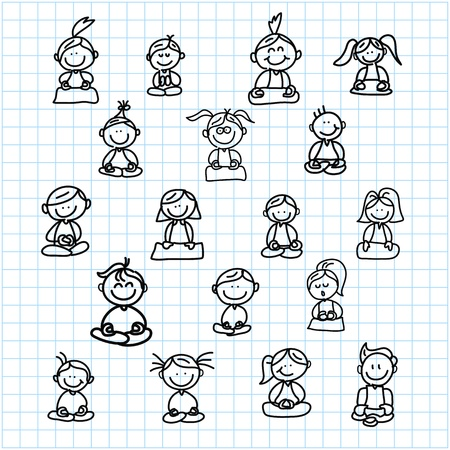 hand drawing cartoon happy people meditation on graph paper illustration Stock Vector - 19084969