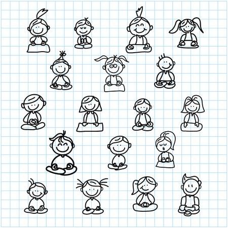 silent: hand drawing cartoon happy people meditation on graph paper illustration Illustration