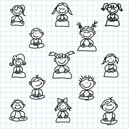 サイレント: 手描きの漫画幸せな人々 は瞑想で方眼紙の図