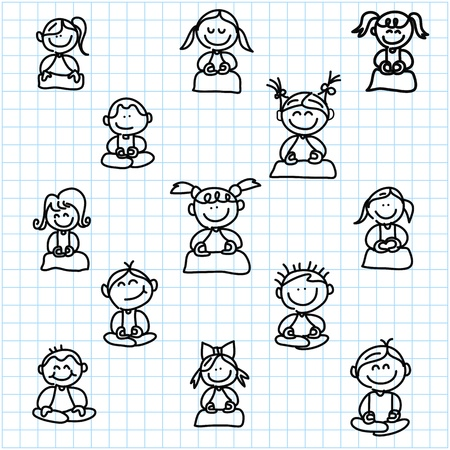 meditation man: hand drawing cartoon happy people meditation on graph paper illustration Illustration