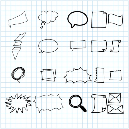 hand drawing doodle stationary cartoon set illustration Vector