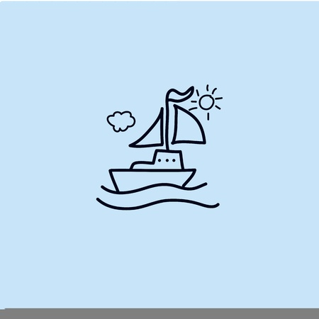 cartoon hand drawing imagination and creativity sailing Vector