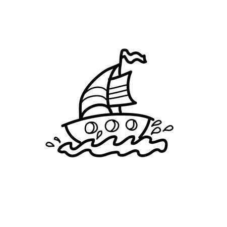 dreamer: cartoon hand drawing imagination and creativity sailing Illustration
