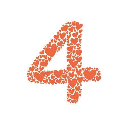 hand drawing number with heart shape character Vector