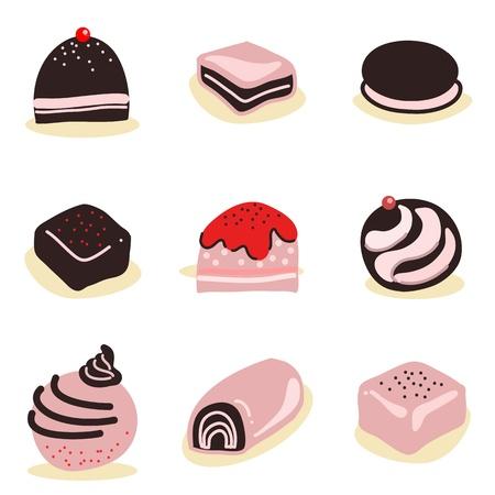 praline: collectie van gemengde chocolade snoepjes met de hand getekende illustratie