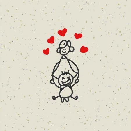 dibujos lineales: mano dibujo de la historieta de la familia feliz carácter