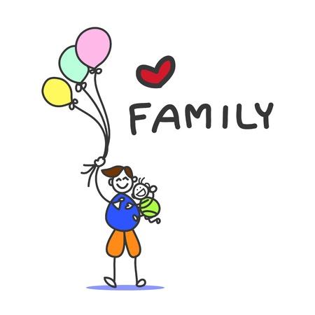hand drawing cartoon character happy family Stock Vector - 19222434
