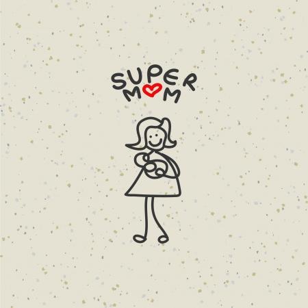 papa y mama: mano dibujo de la historieta de la familia feliz car?cter