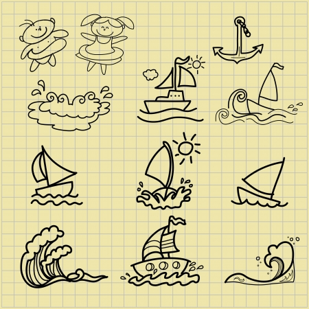 collection of summer cartoons hand drawing Vector