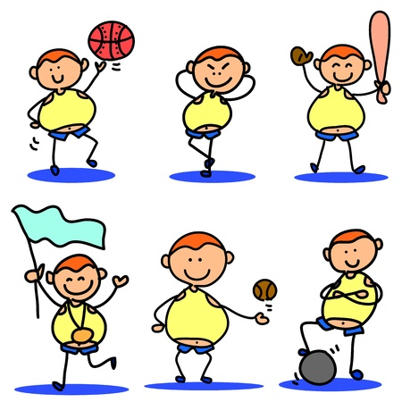 cartoon hand drawing, children sport icon Vector