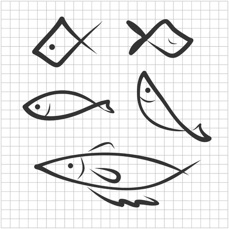 hand drawing icon fish image Vector