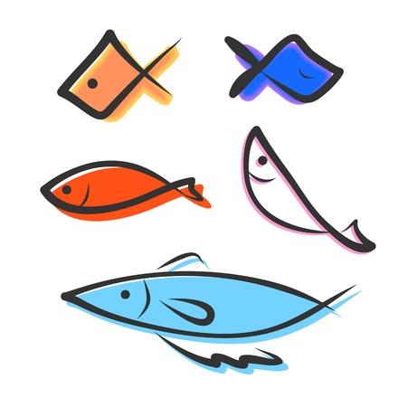 hand drawing icon fish image Vector
