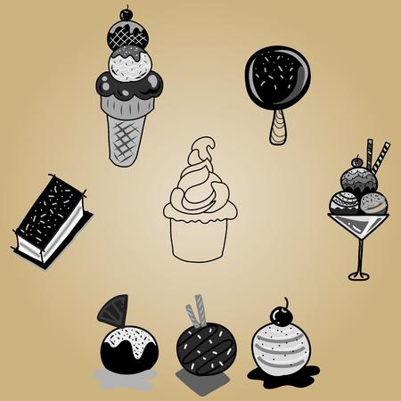 helado caricatura: mano de dibujo divertido pegatina helado de la historieta Vectores
