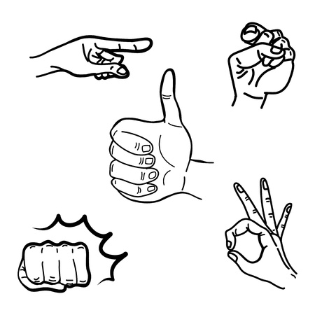 hand drawing hands illustration graphic set Vector