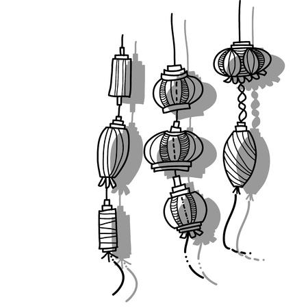 hand drawing lantern festival Çizim