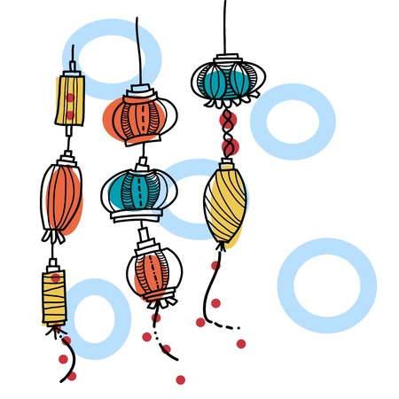 vietnam: hand drawing lantern festival Illustration