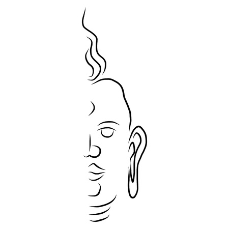 stupa: hand drawing design element buddha face Illustration