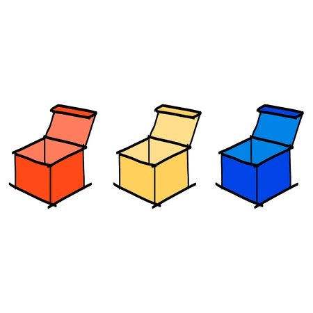 hand drawing sketch colorful boxes Vector