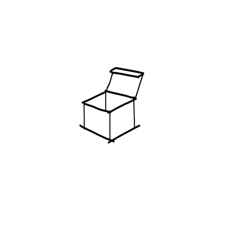 hand drawing sketch open box Vector