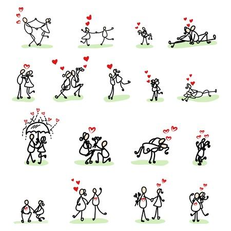 dinner date: disegno a mano dei cartoni animati amore