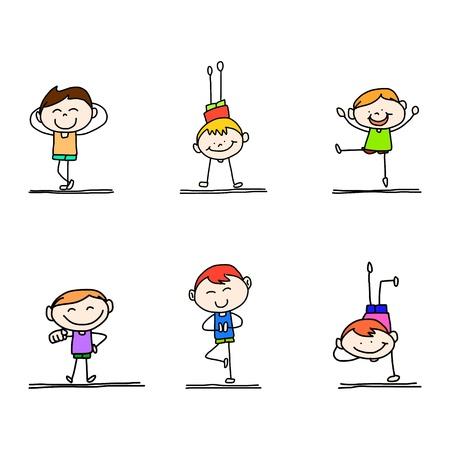hand tekening gelukkige jongen speelt Stock Illustratie