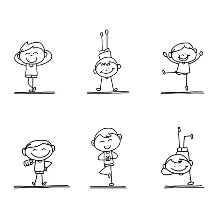hand drawing happy kid playing Illustration