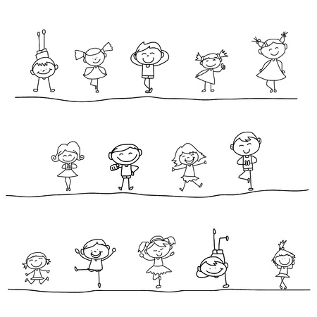 hand drawing cartoon happy kids playing Иллюстрация