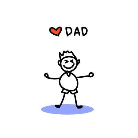 supermom: hand drawing cartoon character happy family