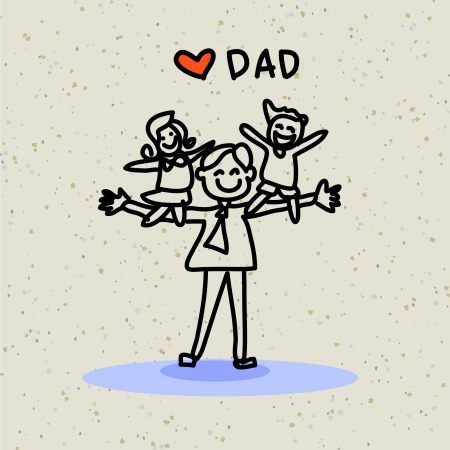 hand drawing cartoon character happy family Vector