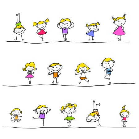 hand drawing cartoon happy kids playing Illustration