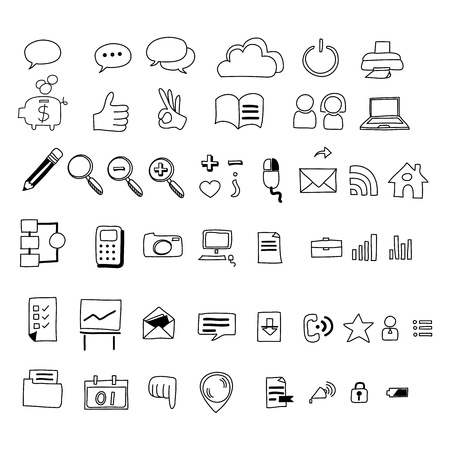 hand drawing web icon doodle sets Vector