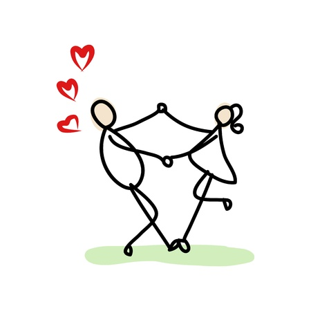 fiance: hand drawing cartoon love character  Illustration