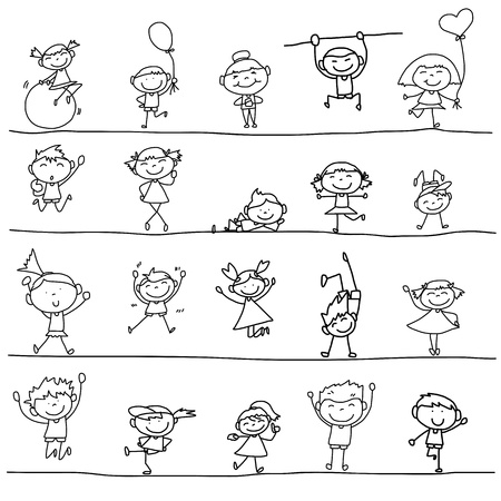 hand drawing cartoon happy kids playing Çizim