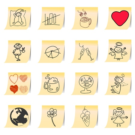 hand drawing cartoon on paper note stickers for design Vector
