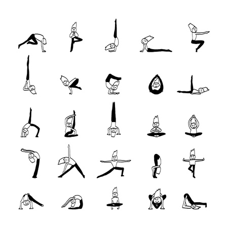 hand drawing cartoon character man practicing yoga for design Vector