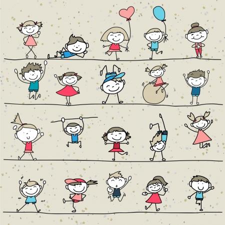 Gráfico de la mano Caricatura de niños felices jugando Foto de archivo - 21281433