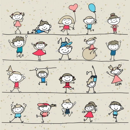 hand drawing cartoon happy kids playing  Vector