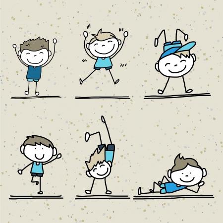 hand drawing cartoon happy kids playing  Vector