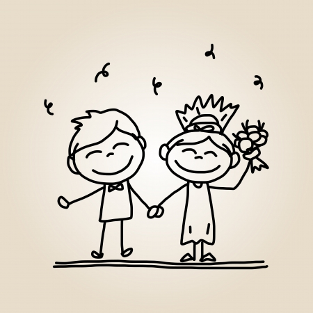 hand drawing cartoon happy people wedding  Vector