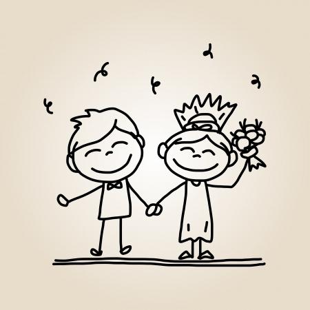 hand drawing cartoon happy people wedding Vetores