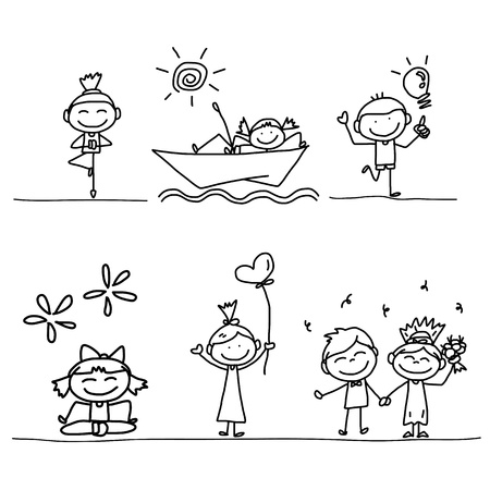 ni�os jugando en la escuela: conjunto de la mano de dibujo Caricatura de ni�os felices jugando