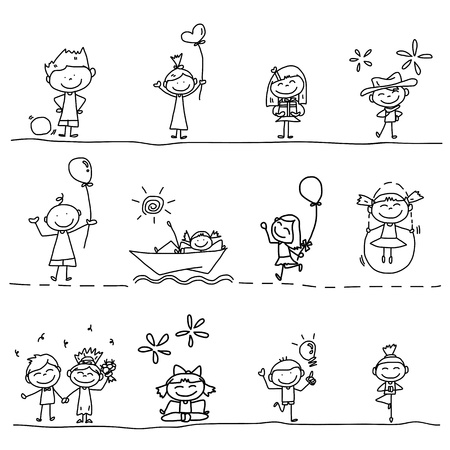 hand drawing cartoon happy kids playing Фото со стока - 21396860