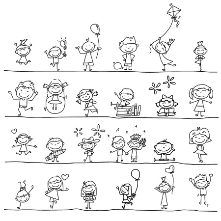 children group: hand drawing cartoon happy kids playing