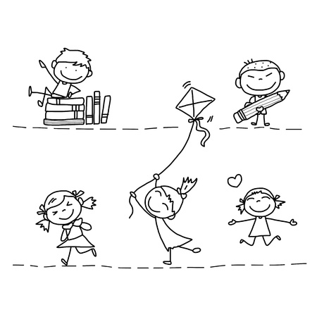 children group: set of hand drawing cartoon happy kids playing