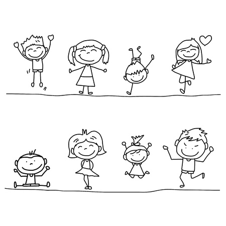 set of hand drawing cartoon happy kids playing
